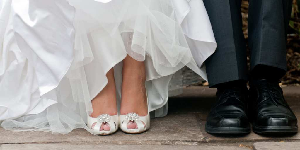 bride and groom feet