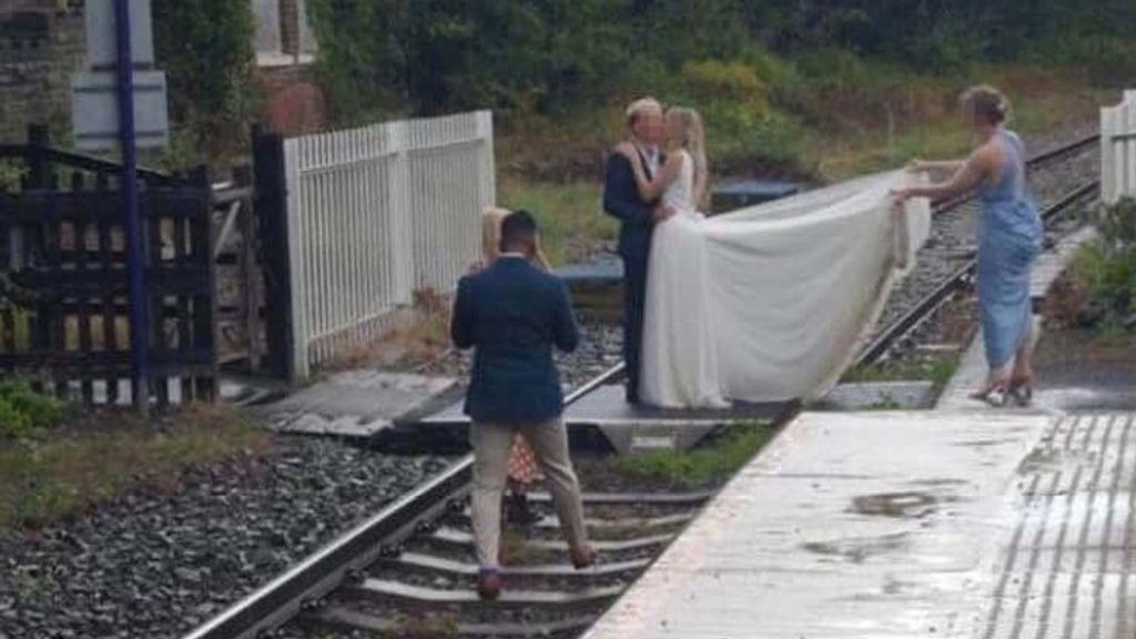 British actor Ellis Hollins caught on camera for train track wedding pictures