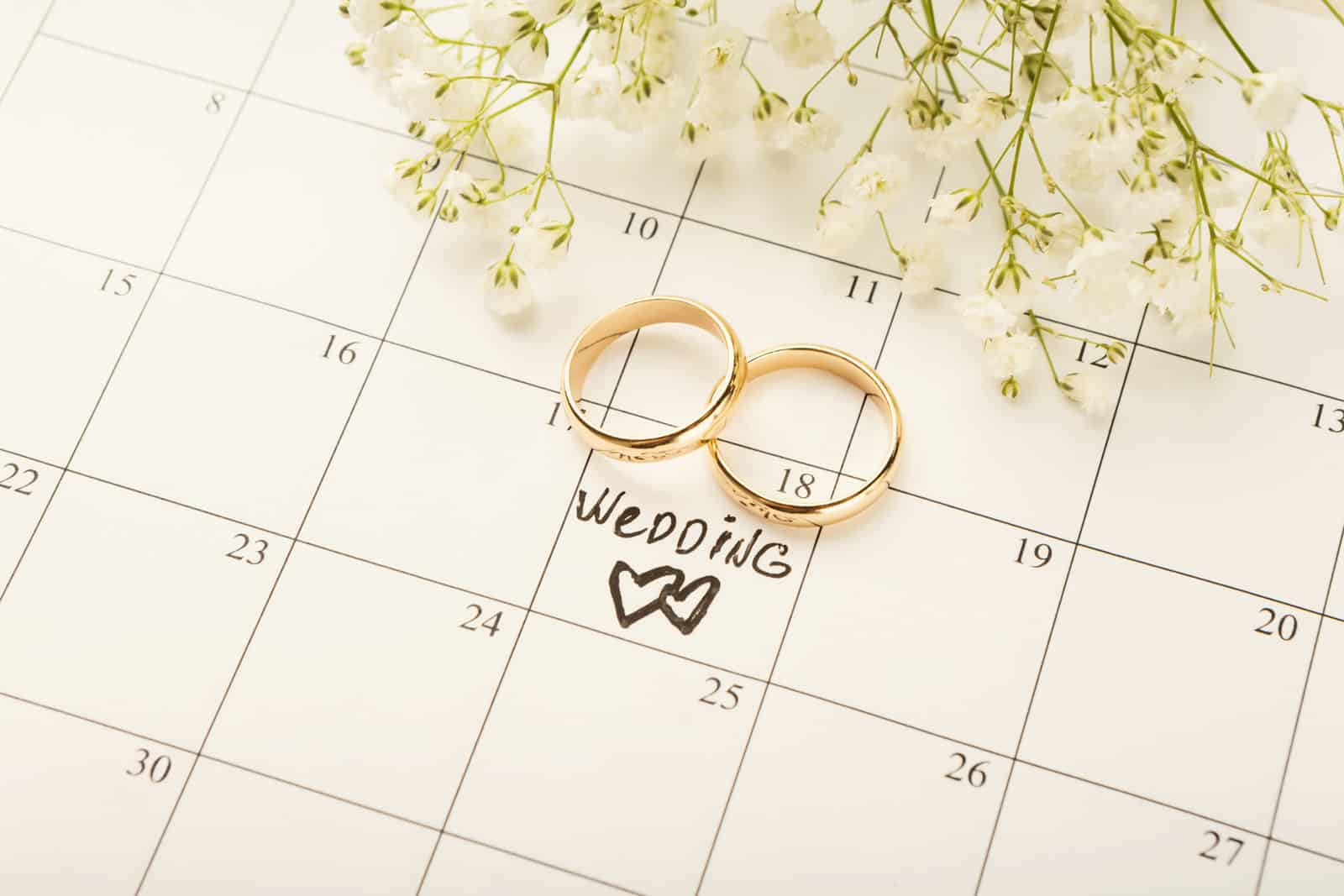 wedding rings on a calendar