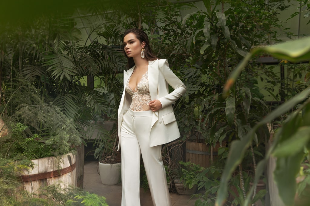 A pants suit as an alternative to a wedding dress
