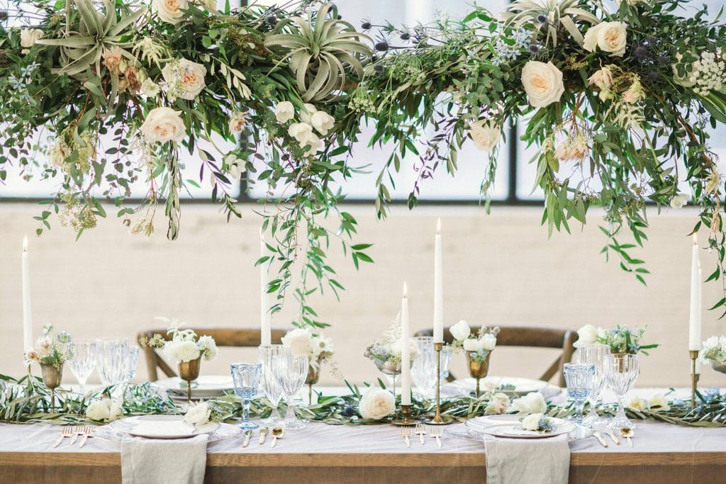 Table arrangement and decoration by A Charming Fête