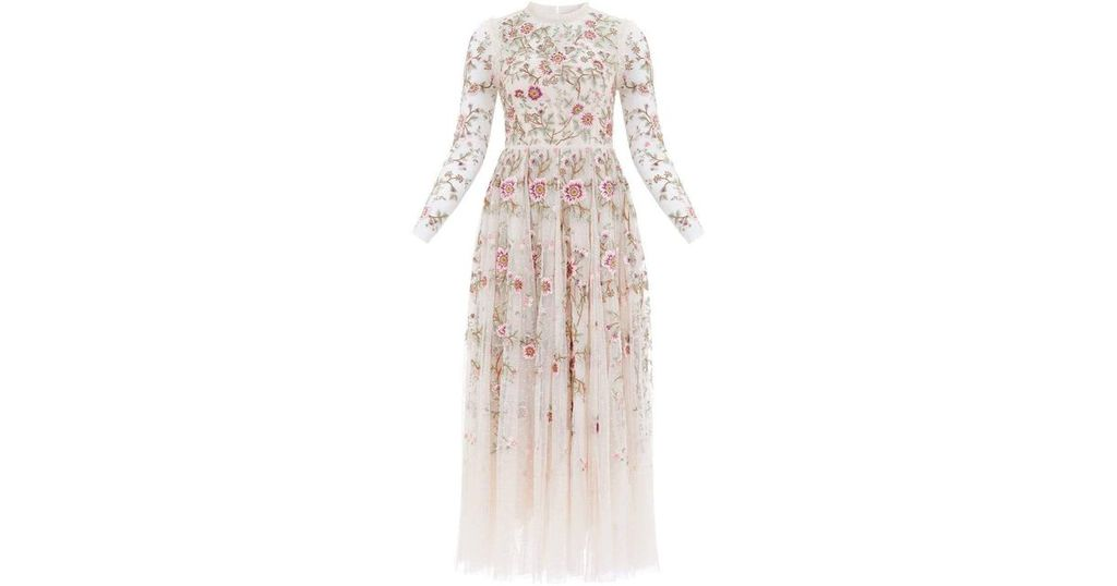 Needle & Thread Floral-Embroidered Woven Gown