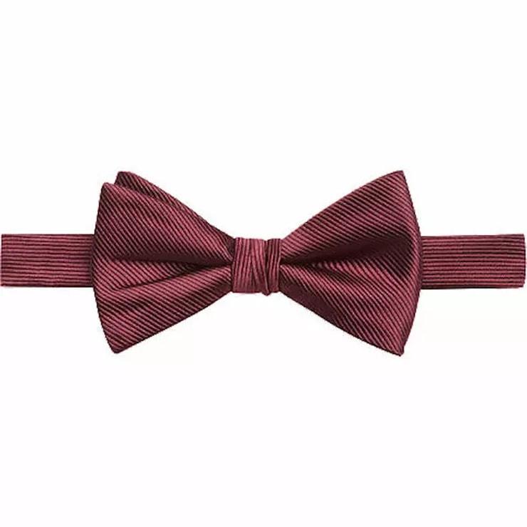 Calvin Klein Wine Grosgrain Pre-Tied Bow Tie