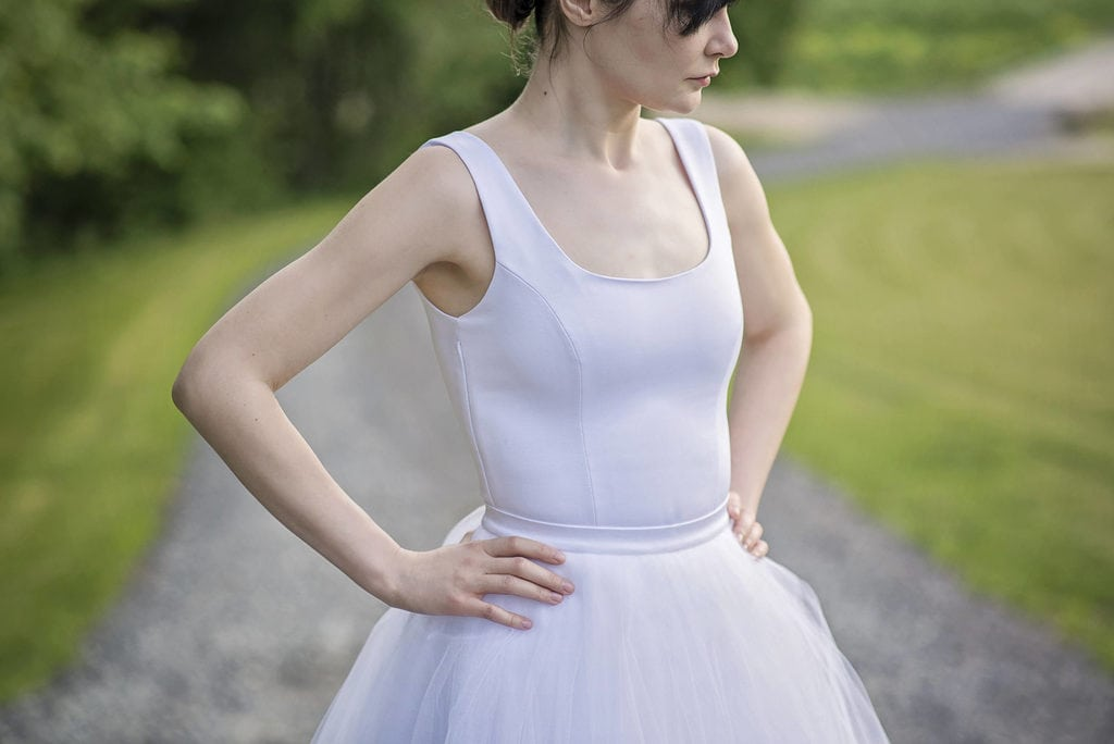 a bride with a 'bodysuit' type dress