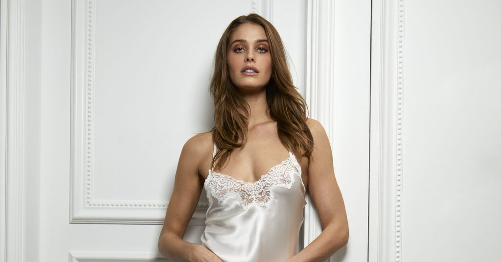 A silk top from the Jolie Collection of lingerie by Hanky Panky and Monique Lhuillier.