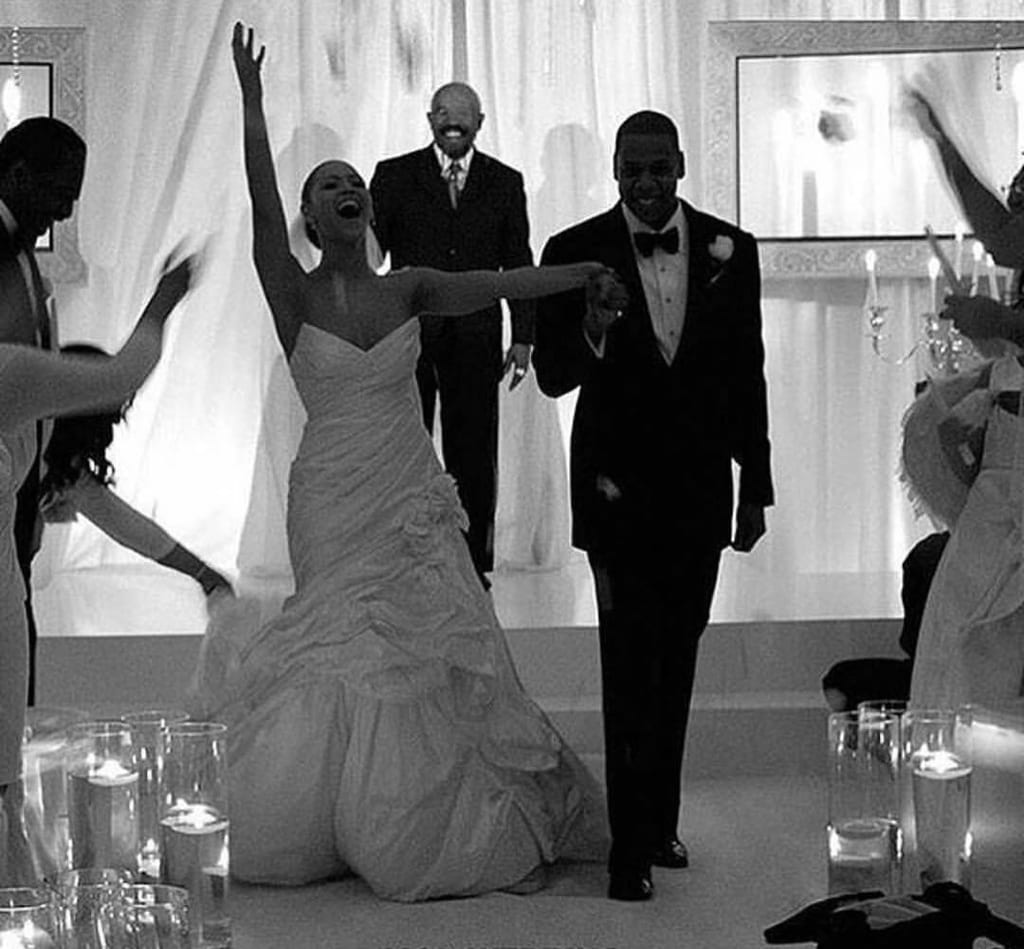 Beyoncé and Jay Z on their wedding day in 2008