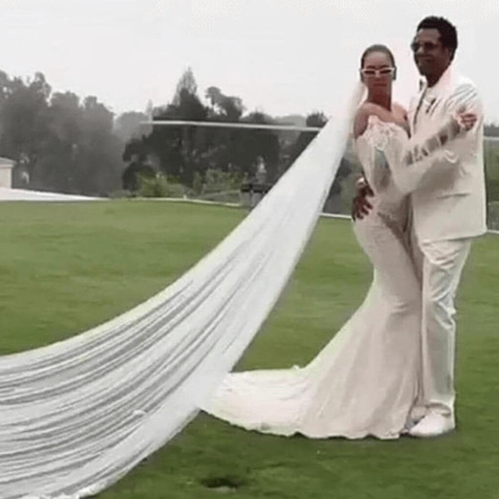A rare image of Beyoncé and Jay Z on their vow renewal ceremony with her wearing the Thelma dress by Galia Lahav