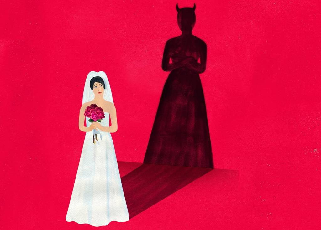 a bride with a devil shadow