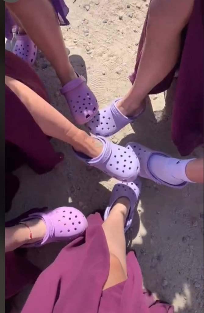 wedding prank photo with Croc shoes