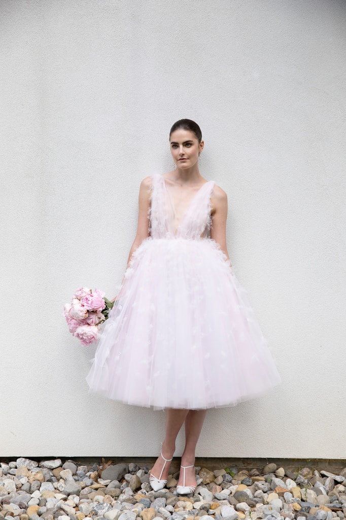 A blush pink plush dress, Bridal Spring 2021, Christian Siriano
