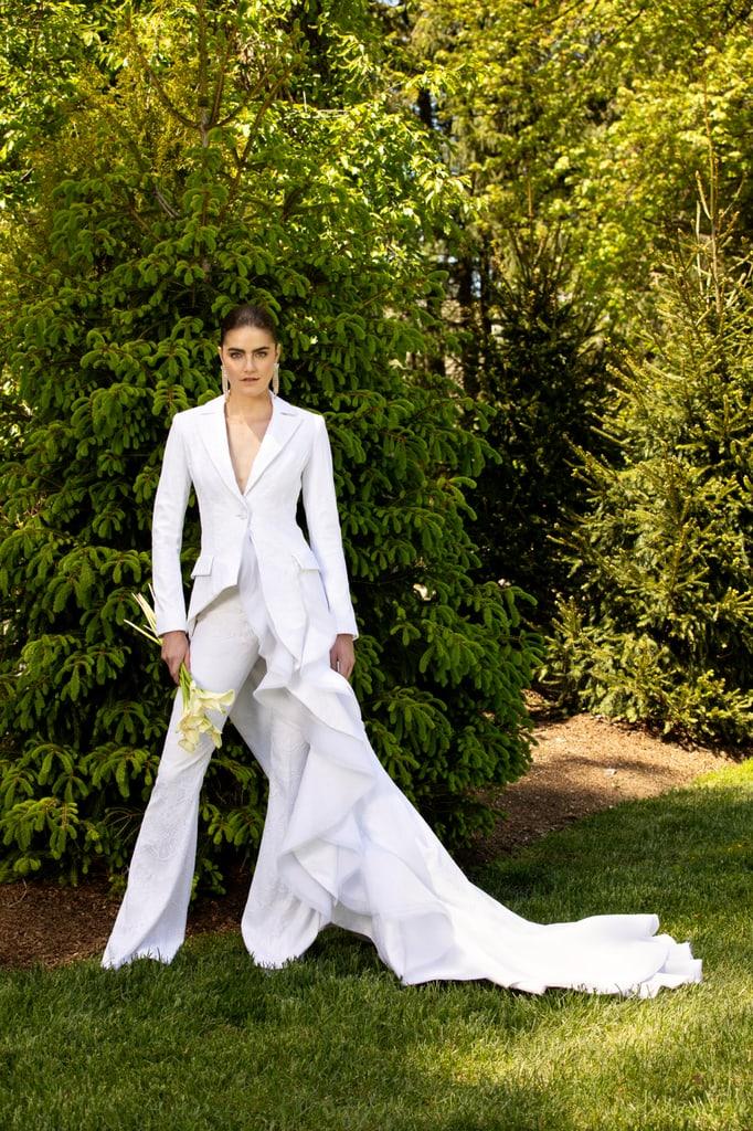 A bridal tuxedo hybrid, Bridal Spring 2021, Christian Siriano